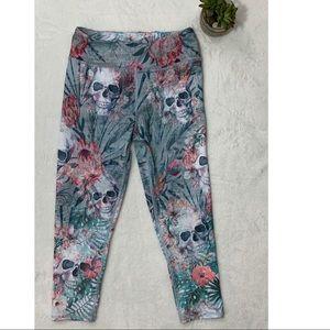 Floral & Skull Print High Waist Crop Legging